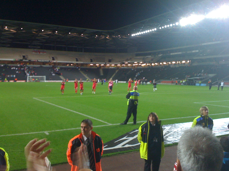 The players applaud the CAFC supporters at the end of the game